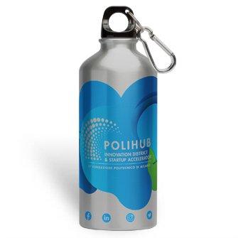 Borraccia personalizzata con tappo a vite e moschettone 600 ml argento