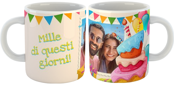 tazza party con foto e nome