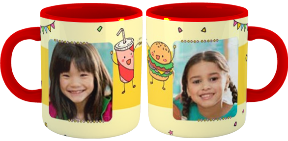 tazza party con foto interno manico colorato