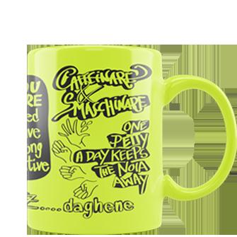 tazza personalizzata fluo gialla