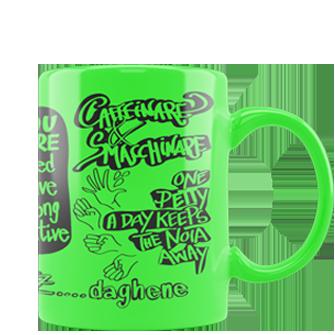 tazza personalizzata fluo verde