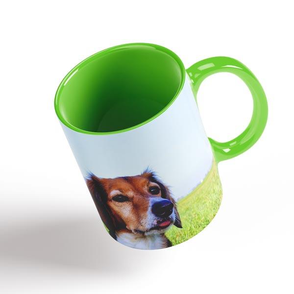 tazza con foto interno e manico verde